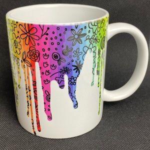 Dripping Floral Rainbow Ceramic Coffee Mug New